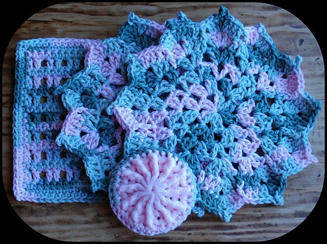 Pretty Petals Dishcloth by Julee Fort