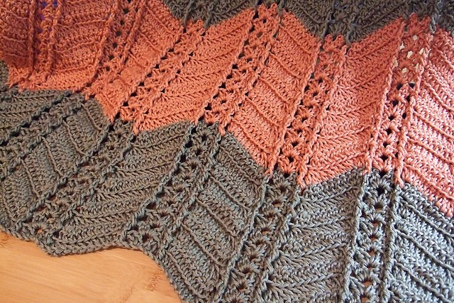 Shell and Post Stitch Ripple Afghan by Heather Tucker