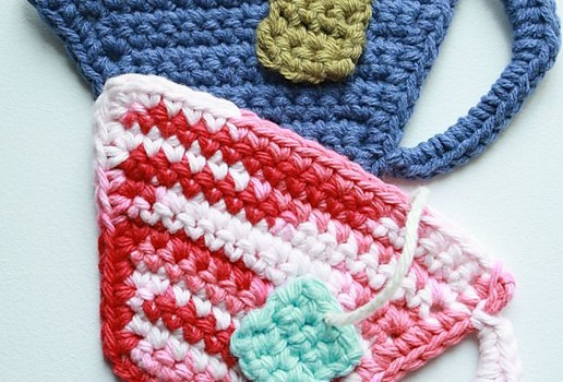 cup pattern coaster tea crochet