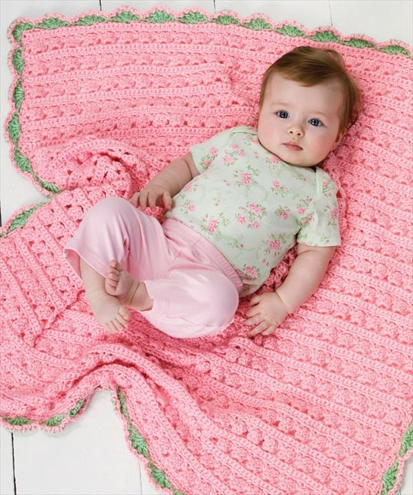 pink-green-edged-crochet-baby-blanket