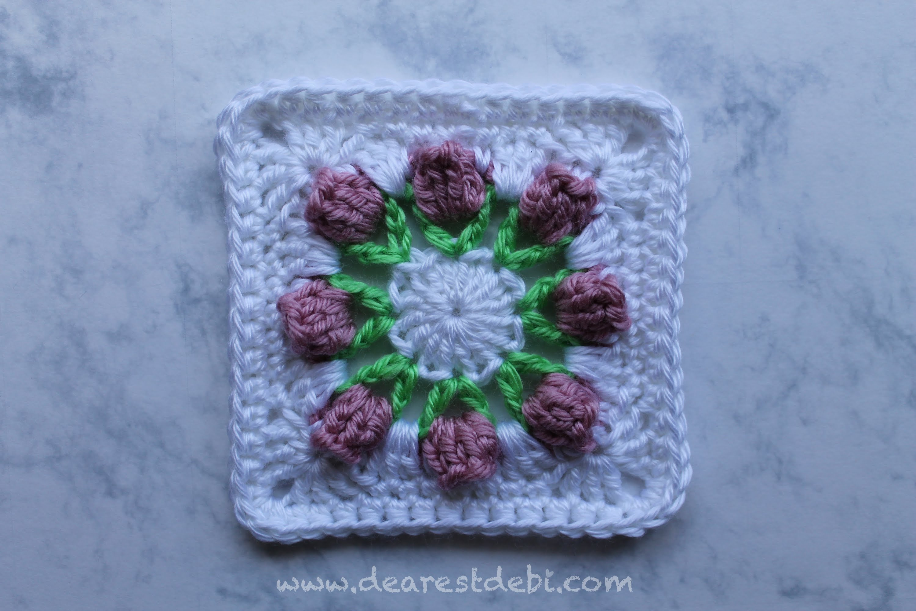 Video Tutorial Cute Little Flower Bud Granny Square To