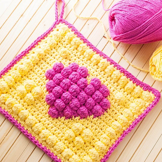 Bobble Heart Potholder by Alex from Sew, Simmer, and Share