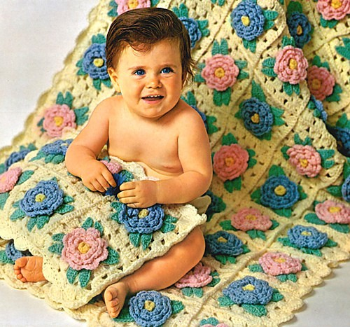 [Free Pattern] These Bed Of Rose Baby Afghan And Matching Pillow Are Amazing