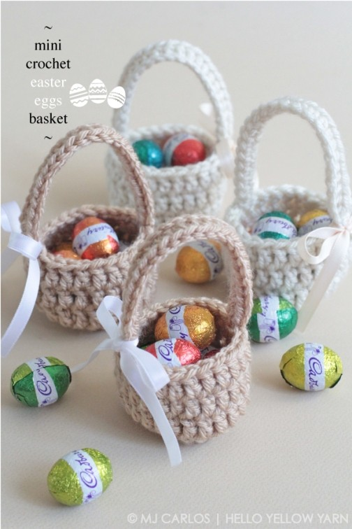 [Free Pattern] These Adorable Mini Easter Eggs Baskets Are Great Gifts To Surprise The Little Ones