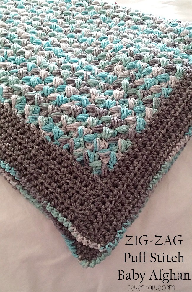 [Free Pattern] Soft And Puffy Zig-Zag Puff Stitch Baby Afghan