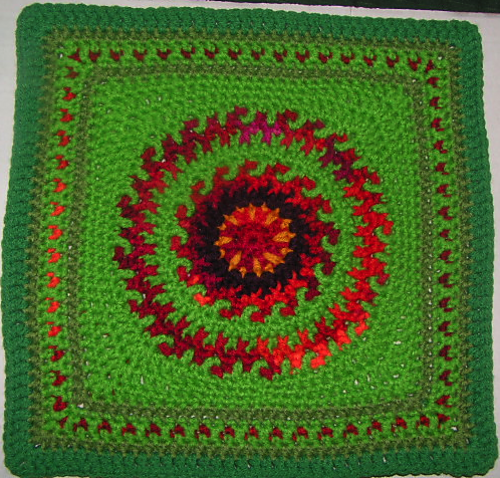 Knitting Patterns For 12 Inch Squares : [Free Pattern] Gorgeous Fire In The Meadow 12 Inch Square - Knit And Crochet ...