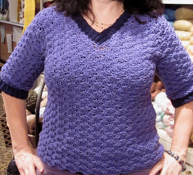 [Free Pattern] This Crocheted V-Neck Pullover Is Flattering On Everybody