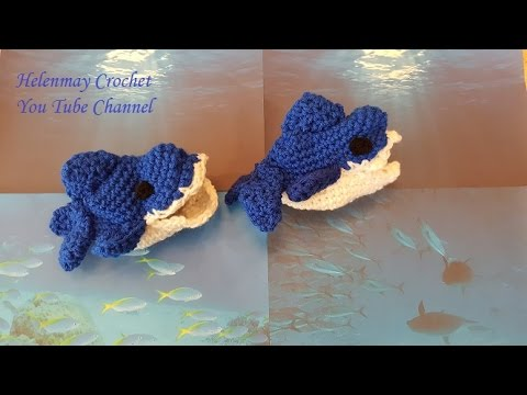 Crochet Shark Shoes Free Pattern : [Video Tutorial] Funny, Easy And Adorable Beginner Baby ...