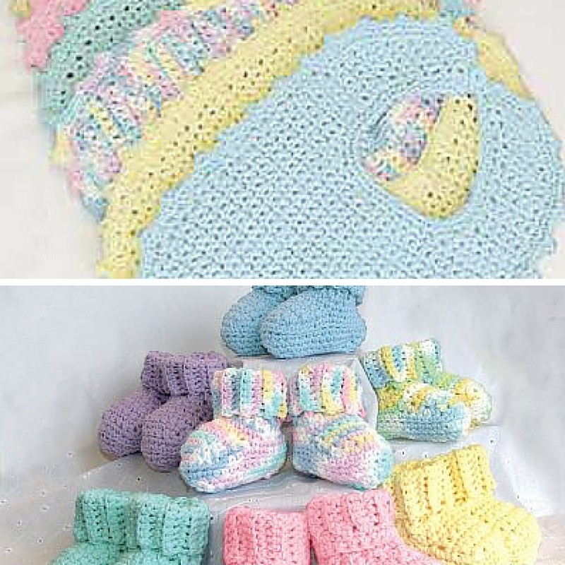 Free Pattern Easy To Crochet And So Adorable Baby Bibs And Booties