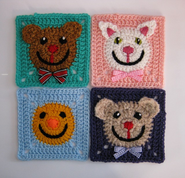[Free Pattern] So Many Fun Ways To Personalize These Funny Face Squares And To Bring Instant Cheerfulness