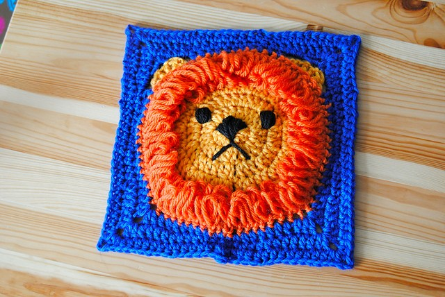 [Free Pattern] Super Cute Lion Square Project To Keep Warm And Cozy