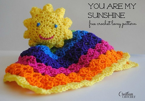 Free Pattern Simple Easy To Follow Adorable Sun And Rainbow Lovey
