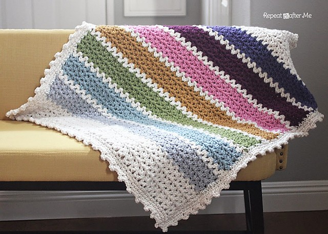 [Free Pattern] This Quick And Easy Chunky Crochet V-Stitch Afghan Would Make A Sweet Blanket For A Winter Baby