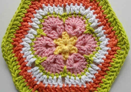Free Pattern Gorgeous 6 Petal African Flower Crochet Dishcloth