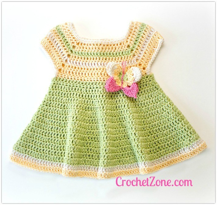 [Free Pattern] This Little Dress With The Butterfly Applique Is Just Darling!