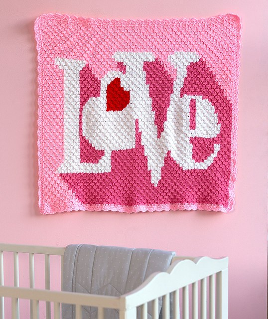 "[Free Pattern] This Fabulous Graphic ""LOVE"" Throw Is Perfect For Expressing Your Love"