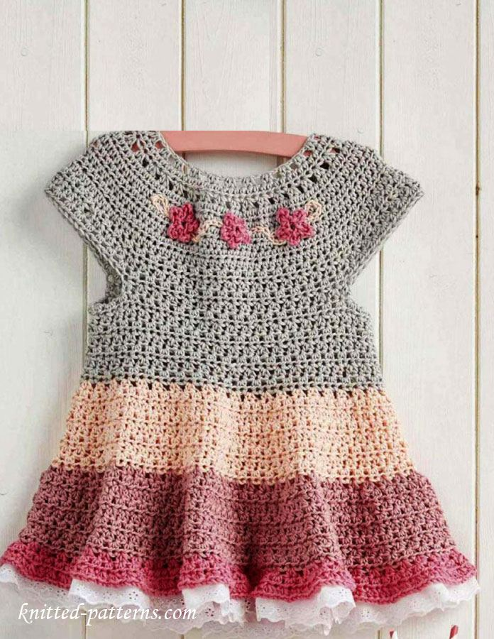 [Free Pattern] Gorgeous Little Tiered Dress With Flowers