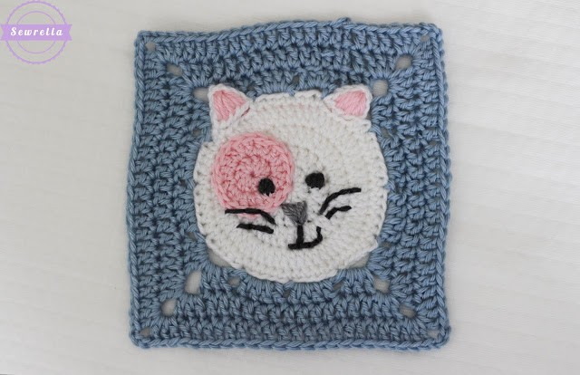 [Free Pattern] Whimsical Little Kitty Cat Square With Tons Of Personality