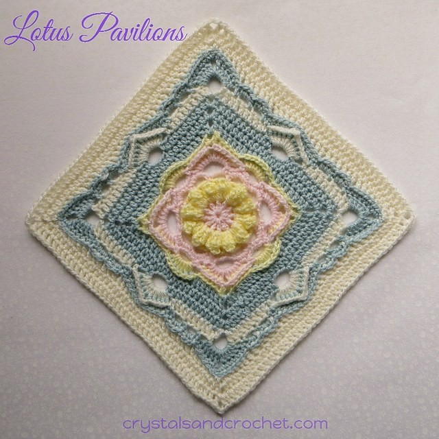 [Free Pattern] Incredibly Beautiful 12 Inch Lotus Flower Square