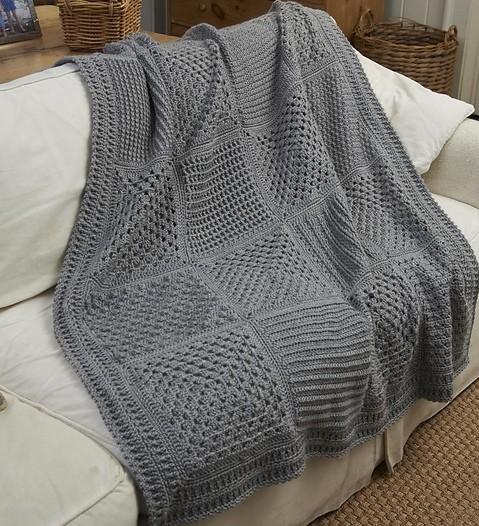 [Free Pattern] This Wonderful Checkerboard Throw Is Perfect For Those Who Like To Learn New Stitch Patterns