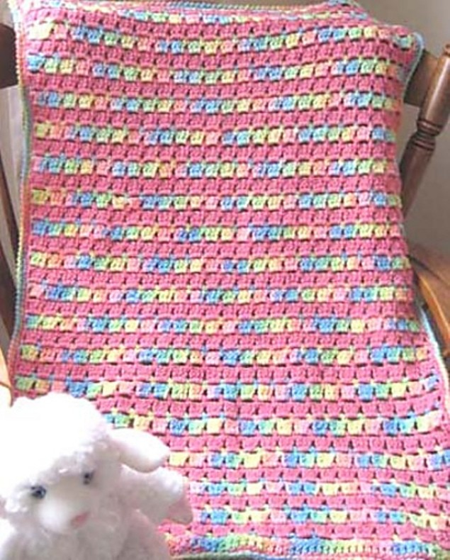 Free Pattern] Super Easy, And So Precious Block-Stitch Baby Blanket ...