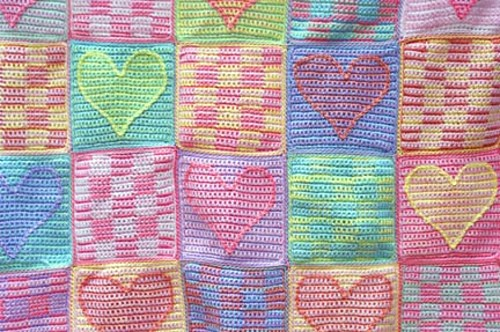[Free Pattern] Colorful And Beautiful Heart Sampler Baby Afghan