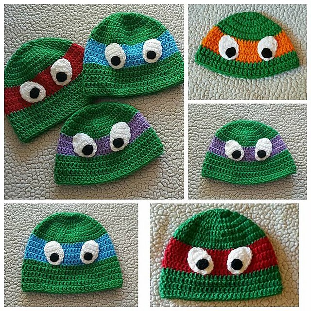 [Free Pattern] These Seamless Ninja Turtle Hats Will Make A Lot Of The Little Boys Very Happy