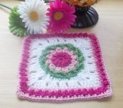 Add This Flower Square To Your Afghan For An Adorable Twist