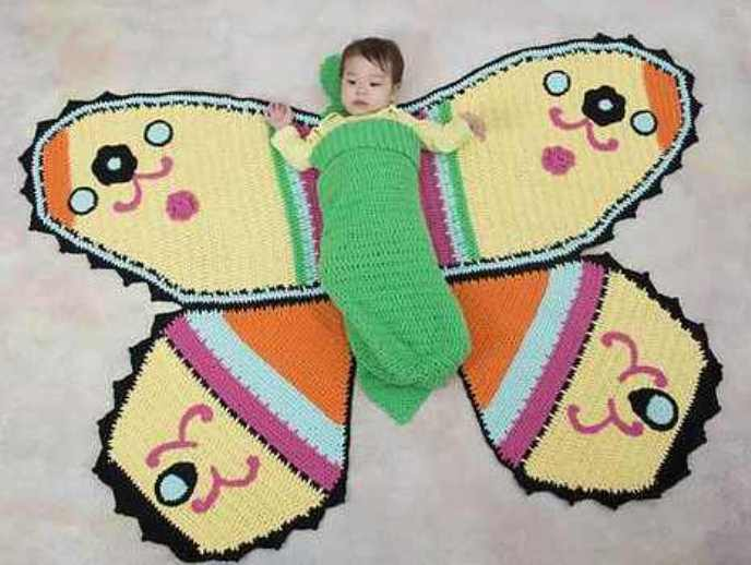 [Free Pattern] Create Adorable Moments With This Stunning Butterfly Baby Blanket & Cocoon Blanket