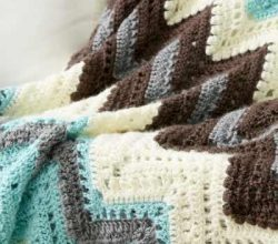 Get Cozy With This Classic Chevron Striped Afghan, Crocheted In Rich Hues
