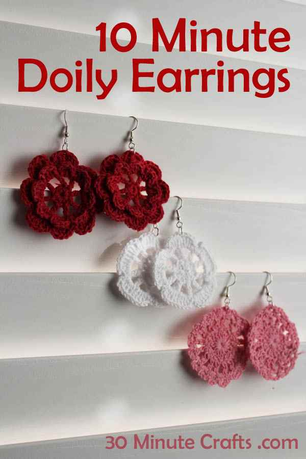10 Minute Doily Earrings , 10+ Cute And Easy 10 Minute Crochet Projects [Free Patterns]
