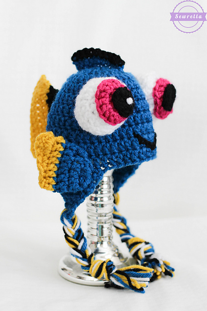[Free Pattern] Baby Dory Crochet Hat For All The Munchkins Out There Who Want To Look Just Like Their Favorite Fish!