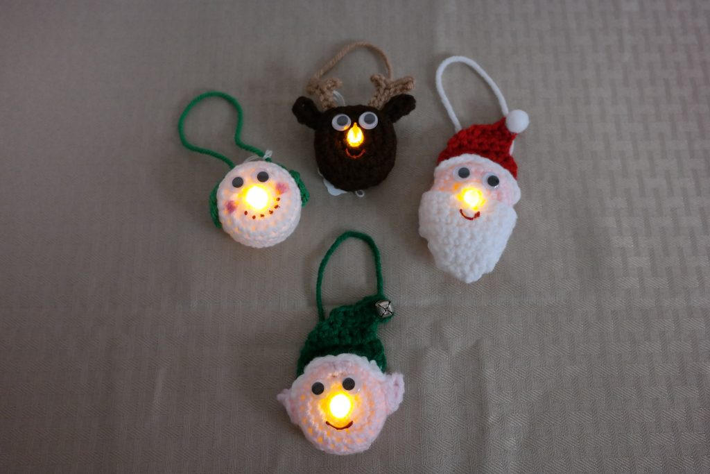 Lighted Elf, Reindeer, Santa and Snowman Ornaments  , 10+ Cute And Easy 10 Minute Crochet Projects [Free Patterns]