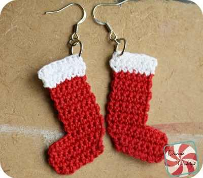 Quick And Easy Crochet Christmas Earrings Pattern Free