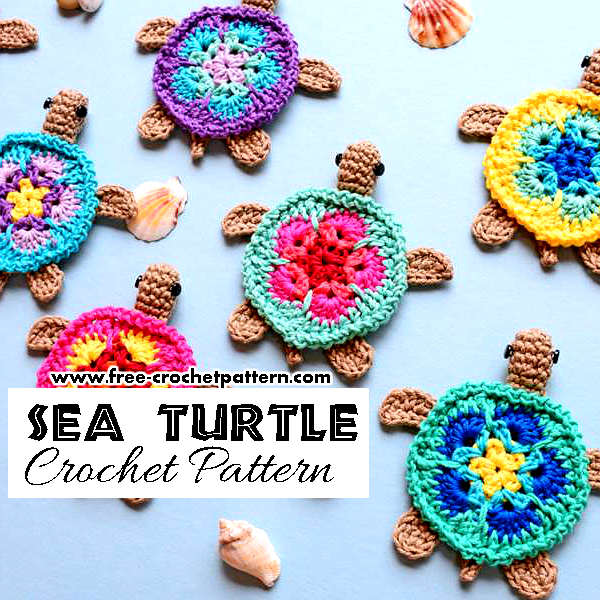 Adorable Crochet Sea Turtle Applique Pattern