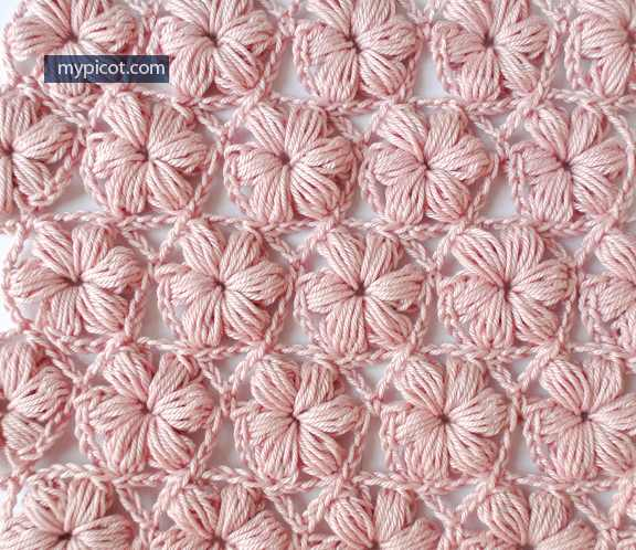 Learn A New Crochet Stitch: Delicate Flower Puff Stitch Pattern