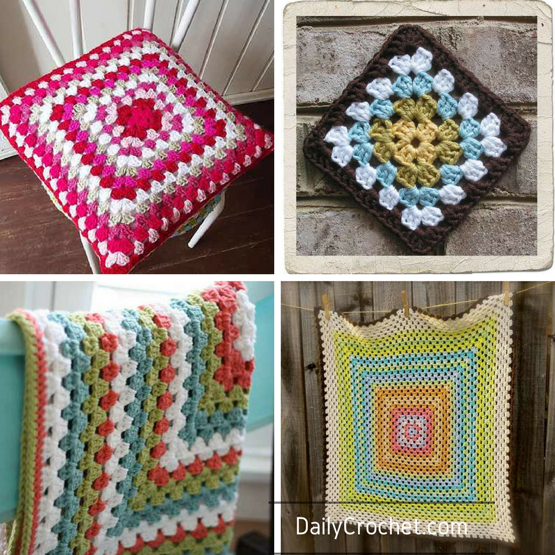 Knitted Granny Square Patterns : Basic Crochet Granny Square Pattern - Knit And Crochet Daily