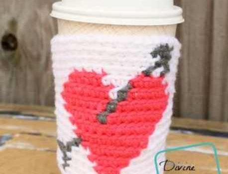 Get Ready For Valentine's Day With This Unbelievably Quick And Cute Heart Mug Cozy Crochet Pattern