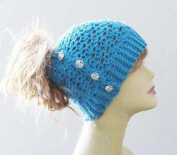 The Easiest And Fastest Crochet Messy Bun Hat You'll Ever Make!
