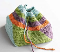 Adorable Multipurpose Crocheted Bag With Striped Panels