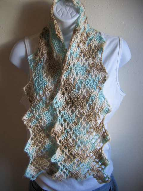 Very Quick And Simple Lacy Crochet Scarf Free Pattern