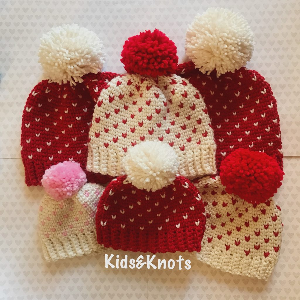 Cute Little Heart Hats With Free Patterns For All Ages - Knit And ... f5be37499ba