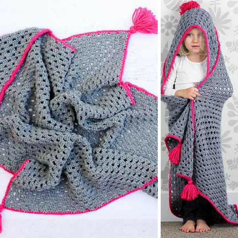 Awesome Hooded Blanket Based On A Large Granny Square