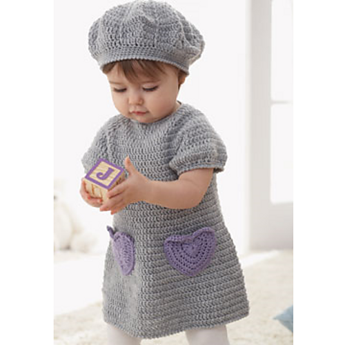 Sweet Little Dress And Matching Beret Set