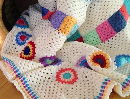 This Granny Squares And Stripes Blanket Is Great Pattern For Scrap