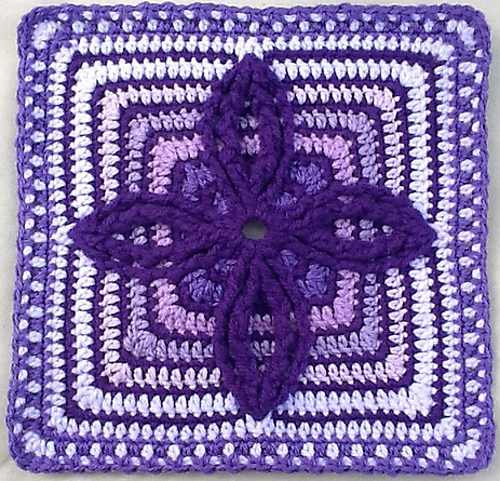 Wonderfully Fabulous Crocheted Block With Double Petal Remix Design