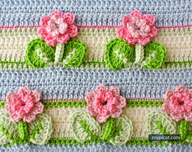 Learn A New Crochet Stitch: 3D Flowers In A Row Crochet Stitch