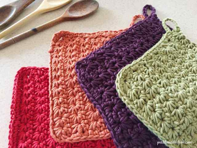 [Free Pattern] Colorful Crochet Star Stitch Potholders To Decorate Your Kitchen Any Season