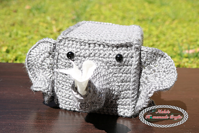 [Free Pattern] Adorable Elephant Tissue Box Cover To Add A Touch Of Glitz To Your Home