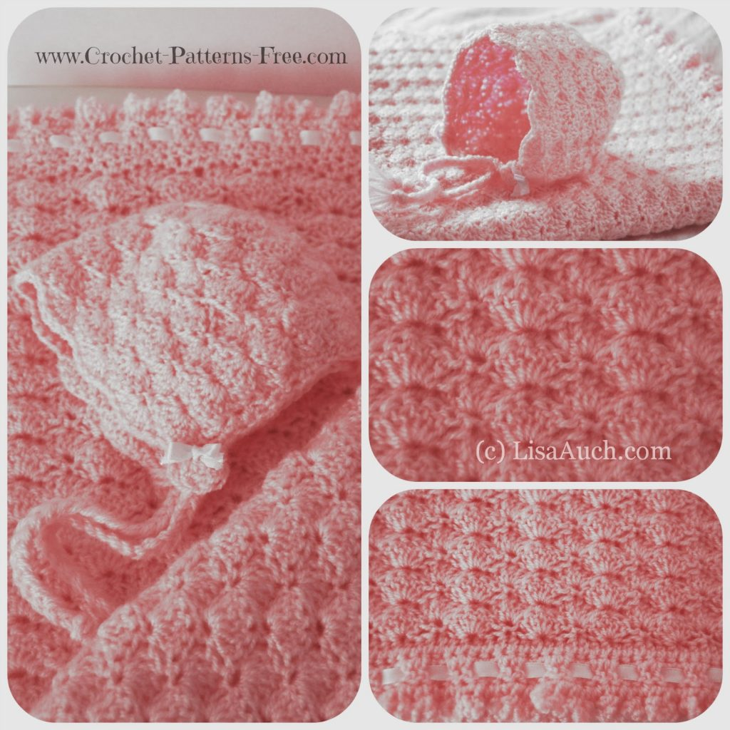 [Free Pattern] Beautiful Textured Baby Blanket Pattern In Shell Stitch And Bonnet Set